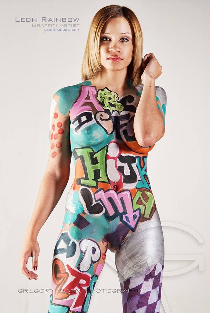 Girl Paints Body Graffitti